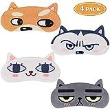 Tacobear 4 piezas Antifaz Para Dormir Divertido Mujeres Hombres Niños Mascara Para Dormir Perro Gato Lindo Animal 3D Sueño...