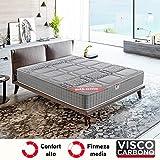 PIKOLIN, Colchón viscoelástico carbono de gama alta, 90x190, máxima calidad y confort, firmeza media, Altura 26 cm. Modelo...