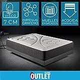 Colchón 90x190 muelles ensacados Memory Vex Spring de Altura 26cm, 7 cm de ViscoVex Grafeno de Komfortland
